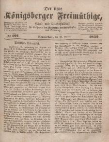 Der neue Königsberger Freimüthige, Nr. 101 Donnerstag, 21 Oktober 1852