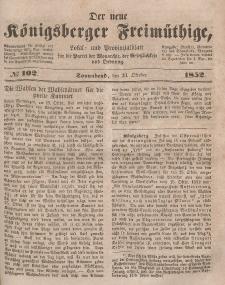 Der neue Königsberger Freimüthige, Nr. 102 Sonnabend, 23 Oktober 1852