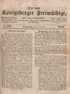 Der neue Königsberger Freimüthige, Nr. 107 Donnerstag, 4 November 1852