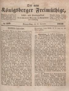 Der neue Königsberger Freimüthige, Nr. 113 Donnerstag, 18 November 1852