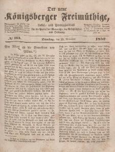 Der neue Königsberger Freimüthige, Nr. 115 Dienstag, 23 November 1852