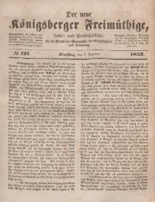 Der neue Königsberger Freimüthige, Nr. 121 Dienstag, 7 Dezember 1852
