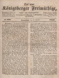 Der neue Königsberger Freimüthige, Nr. 123 Sonnabend, 11 Dezember 1852