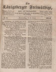 Der Königsberger Freimüthige, Nr. 5 Donnerstag, 12 Januar 1854