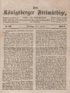 Der Königsberger Freimüthige, Nr. 16 Dienstag, 7 Februar 1854