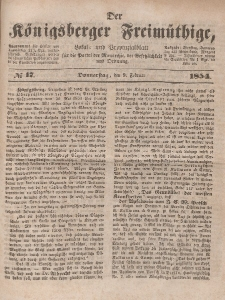 Der Königsberger Freimüthige, Nr. 17 Donnerstag, 9 Februar 1854