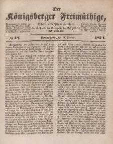 Der Königsberger Freimüthige, Nr. 18 Sonnabend, 11 Februar 1854