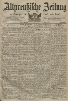 Altpreussische Zeitung, Nr. 111 Freitag 15 Mai 1891, 43. Jahrgang