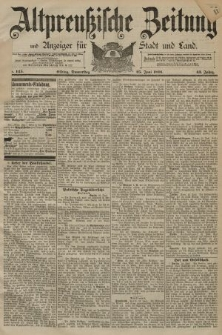 Altpreussische Zeitung, Nr. 145 Donnerstag 25 Juni 1891, 43. Jahrgang