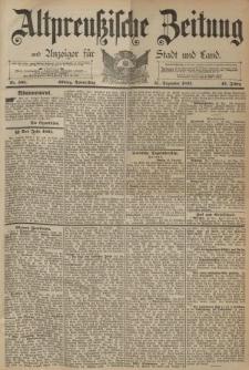 Altpreussische Zeitung, Nr. 305 Donnerstag 31 Dezember 1891, 43. Jahrgang
