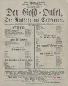 Der Gold-Onkel, oder: Die Rückkehr aus Californien (1.12. 1862 r.) - afisz